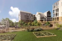 Vue piétonne réalisée par Habiteo pour un projet Bouygues Immobilier